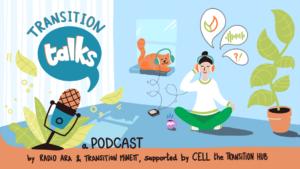 transition talks illustration micro plante chat femme podcast