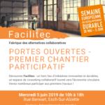 affiche chantiers participatifs orange image machine menuiserie fenêtre